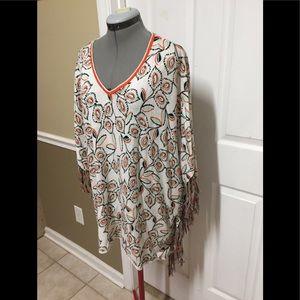 Democracy V Neck top Poncho 100% Cotton knit sz 2X